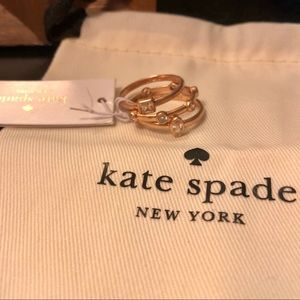 NWT Kate Spade RG Elegant Edge Stackable Ring Set